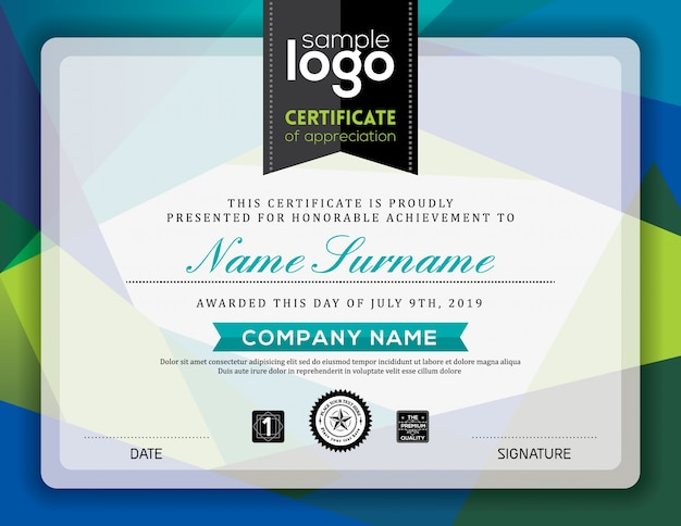 Certificate with blue and green shapes