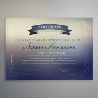Certificate with a blurred background