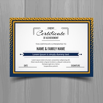 Certificate with a dotted frame