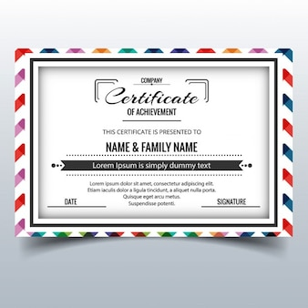 Certificate with a frame decorated with zigzag lines