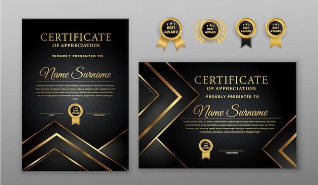 Сертификат с золотым и черным значком и шаблоном границы