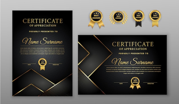 Certificate with gold and black badge and border template