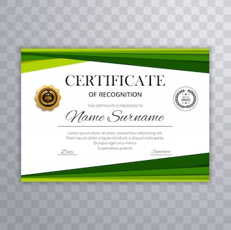 Certificate with green wave design elements vector