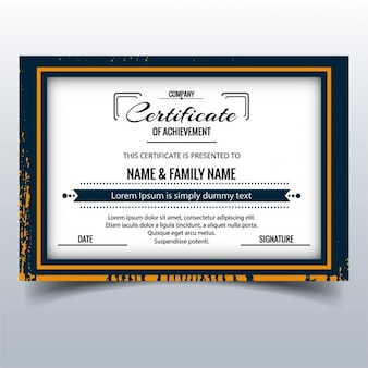 Certificate with a grunge frame