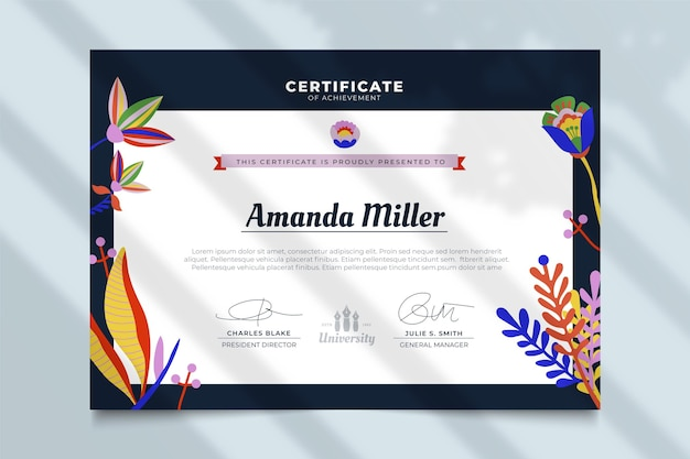 Certificate with leaves template