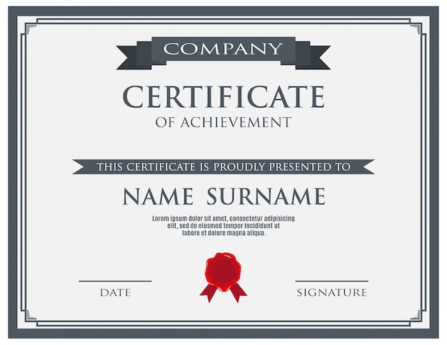 Certificate with wax seal template
