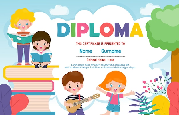 幼稚園と小学校の証明書、就学前の子供たちの卒業証書の証明書の背景デザインテンプレート、学生のための卒業証書、学校の子供たちが本を読んでいる学校に戻る孤立したイラスト