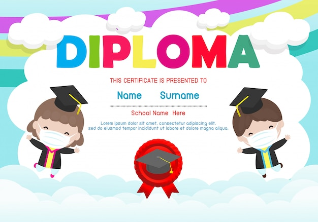 Certificates kindergarten and elementary, preschool kids diploma certificate background design template