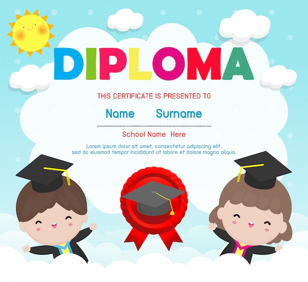 Certificates kindergarten and elementary, preschool kids diploma certificate  template