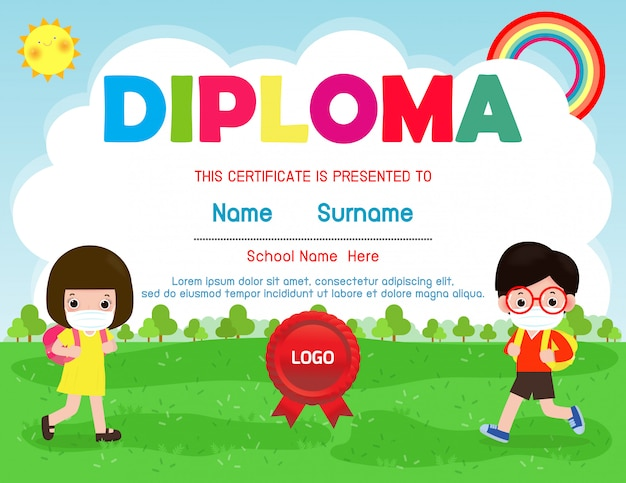Certificates kindergarten and elementary, preschool kids diploma certificate