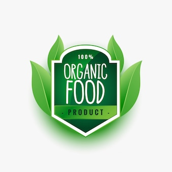 Certified organic food product green label or sticker