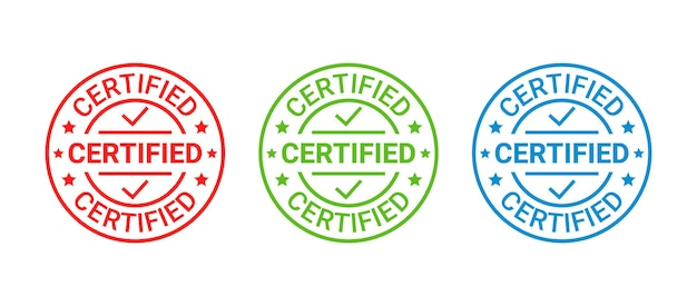 Certified rubber stamp. quality mark approval. checked retro badge. warranty label. vintage illustration