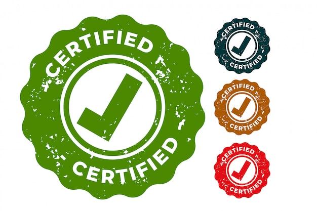 Timbri in gomma certificati design set di quattro