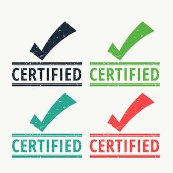 Timbro di gomma certificata con il segno di spunta