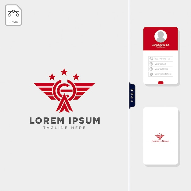 Ch wings military team logo template free business card design