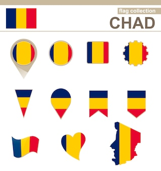 Chad flag collection, 12 versions