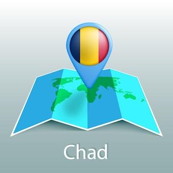 灰色の背景に国の名前とピンでチャドの国旗の世界地図