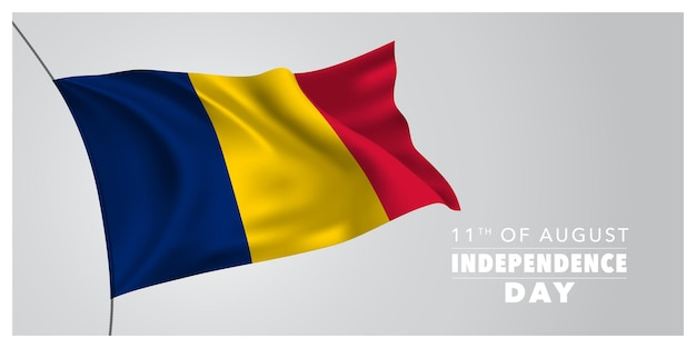 Chad happy independence day greeting card banner horizontal vector illustration