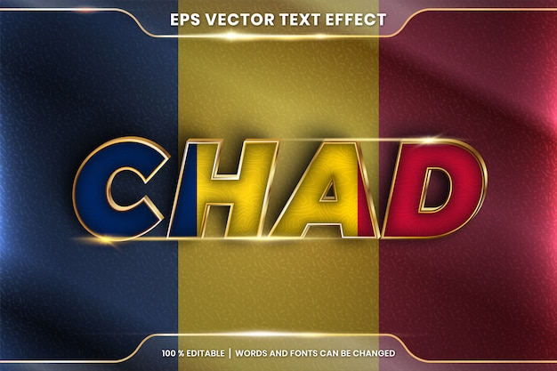 Chad with its national country flag, editable text effect style with gradient gold color concept