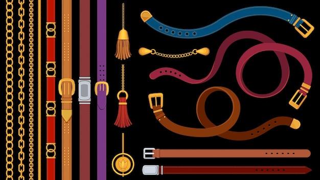 チェーンベルト。金属製のバックルで金色のチェーンと革ベルトを磨きます。ジュエリーペンダント、フリンジ、ストラップ、ブレード。ファッション要素ベクトルセット。バックルイラスト付きアクセサリーストライプベルトの素材
