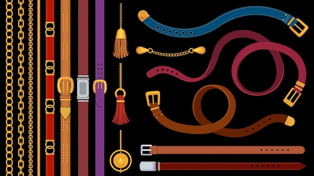 Chain belts. brushes golden chains and leather belt with metal buckle. jewelry pendant, fringe, strap and braids. fashion element vector set. material of accessory stripe belt with buckle illustration