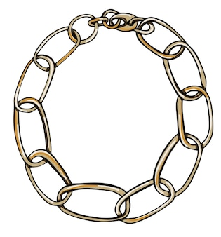 Chain bracelet or necklace made of metal vector