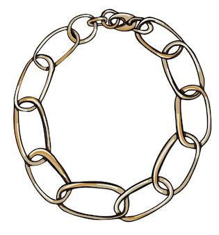 Браслет-цепочка или колье из металла вектора
