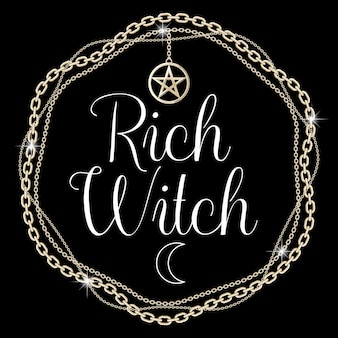Chain frame with pentagram pendant, text on black. vector illustration.