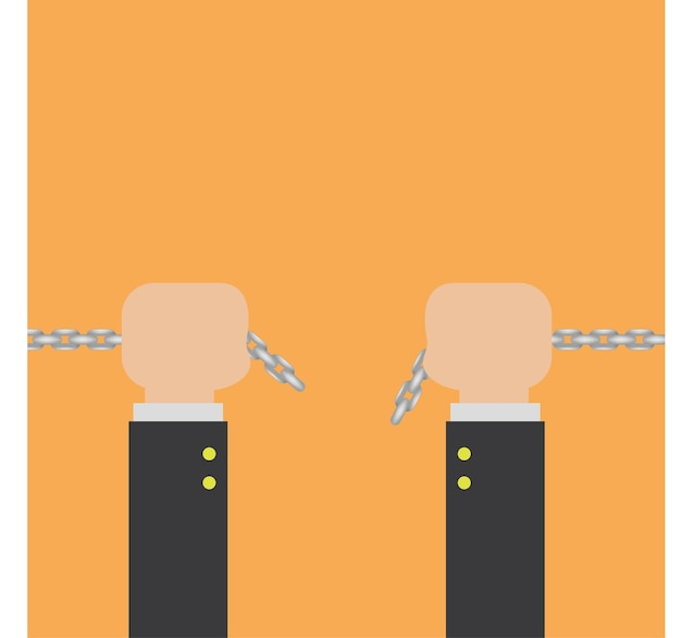 Chain in hand vector