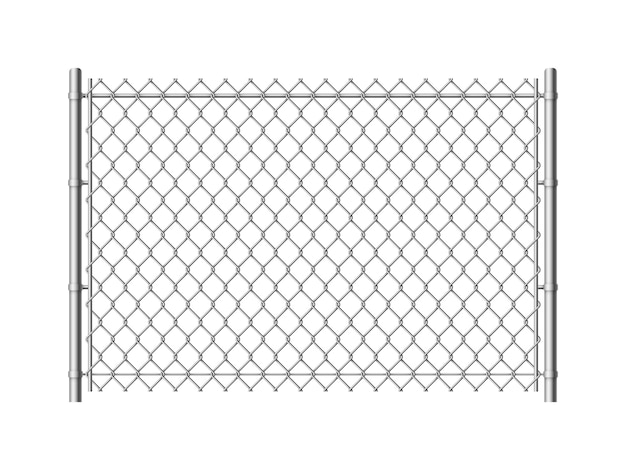 Chain link fence. realistic metal mesh fences