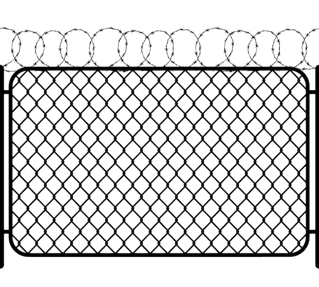 Chain link fence with barbed wire, black seamless silhouette on white