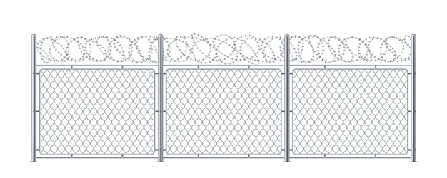 Chain link fence with barbed wire. metal chainlink construction with barbwire or barb, bobbed or bob wire.