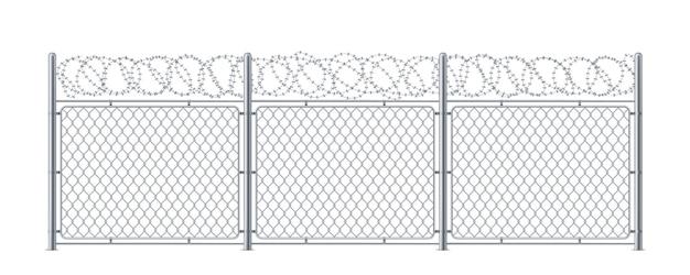 有刺鉄線の金網フェンス。有刺鉄線または有刺鉄線、ボブまたはボブワイヤーを使用した金属チェーンリンク構造。