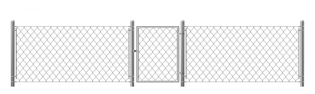 Chain-link fencing with wicket realistic vector