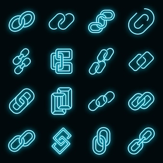 Chain link icons set vector neon