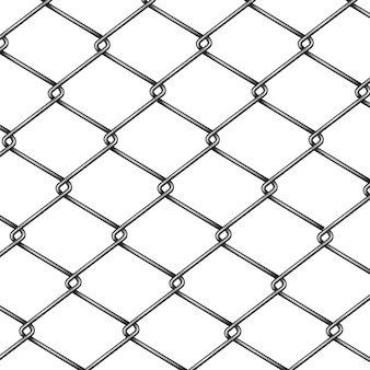 Chain-link, rabitz fence fragment or pattern 3d realistic vector isolated on white background.