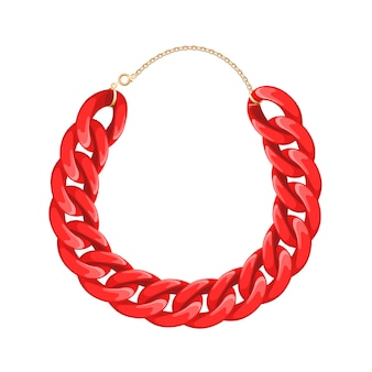 Chain necklace or bracelet - red color. personal fashion accessory .