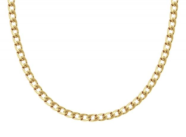 Цепочка из желтого золота с фигурными восьмью звеньями выполнена в полукруглой форме и показана на белом фоне