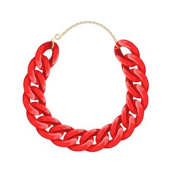 チェーンネックレスまたはブレスレット-赤い色。個人的なファッションアクセサリー。