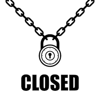 Chain and padlock illustration vector closed