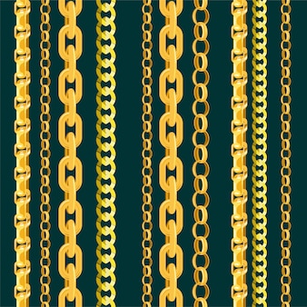 Chain  seamless pattern gold chainlet in line or metallic link of jewelry illustration