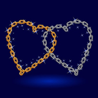 Chain silver and gold heart.