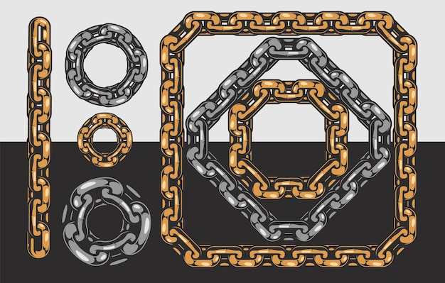 Chain template with line circle square diamond shapes isolated