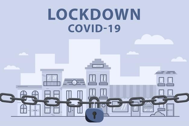 Chain virus lockdown barrier over city. pandemic. biohazard warning concept. stock   illustration in flat design.