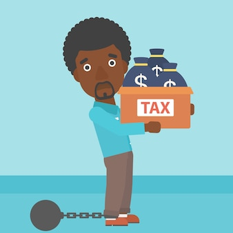 Chained businessman with bags full of taxes