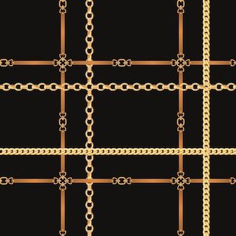チェーンとベルトのシームレスパターン。ファブリック、テキスタイル、壁紙用のゴールデンチェーンとレザーストラップのファッションの背景。ベクトルイラスト