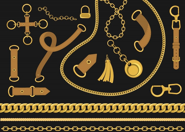 Chains and belts vector design elements . baroque style vector illustration