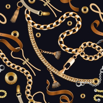 Chains and braids seamless pattern. golden embroidery and ornamental wallpaper with leather belt