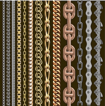 Chains link elements  seamless metal chain-parts set isolated on background. gold and silver metal chains link seamless elements