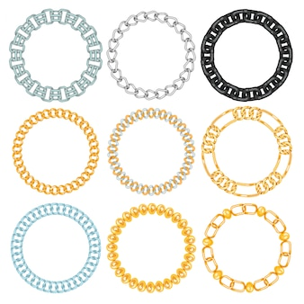 チェーンは、金属のリンクされたパーツフレームの強度接続ベクトル境界と鉄の機器保護の強いサインの光沢のあるデザインスペースをリンクします。